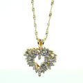 Lovely Ladies 14K Yellow Gold Diamond 0.95CTW Heart Pendant and 10K Fancy Chain Jewelry