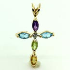NEW Modern Multicolor Authentic Gemstone 14K Yellow Gold Cross Pendant Jewelry