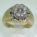 Handsome Men's Vintage 14K Yellow Gold Diamond 1.00CTW Kentucky Cluster Ring Jewelry