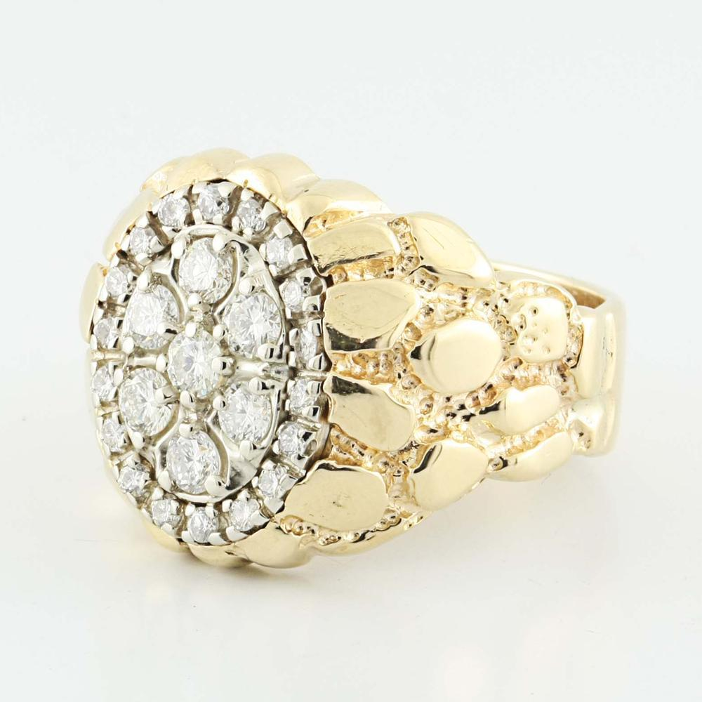 Striking 14K Yellow Gold Round Diamond Gold Nugget Mens Ring
