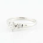Charming Platinum Marquise Solitaire Baguette Diamond Engagement Wedding Ring