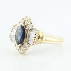Alluring 14K Yellow Gold Marquise Sapphire Diamond Ring