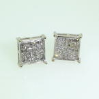 Stunning 14k White Gold Princess Cut Diamond 0.30CTW Studs Earrings Jewelry