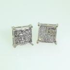 Stunning 14k White Gold Princess Cut Diamond 0.30CTW Studs Earrings Jewelry