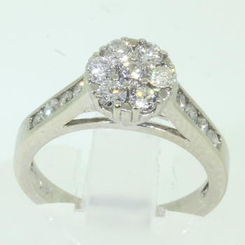 Scintillating Ladies 14K White Gold Diamond 0.95CTW Engagement Ring Jewelry