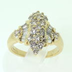 Vintage Ladies 14K Yellow Gold Diamond 1.45CTW Cluster Cocktail Ring Jewel