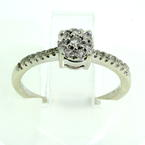 Modern Fashion Girl's 10K White Gold Natural Diamond 0.15CTW Ring Jewelry