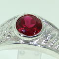 Handsome Men's Estate 925 Red Spinel Ring Jewelry