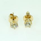 Classic Ladies 14K Yellow Gold Diamond 0.50CTW Stud Earrings Jewelry