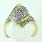 Splendid Ladies 10K Yellow Gold Diamond Cocktail Ring Jewelry