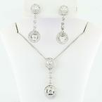 Absoutely Stunning 14K White Gold Round Diamond Earring Pendant Necklace Ball Room Set