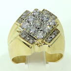 Handsome Men's Vintage 14K Yellow Gold Diamond Ring Jewelry