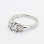 Stunning Platinum Three Stone Princess Cut Diamond 1.10CTW Engagement Ring