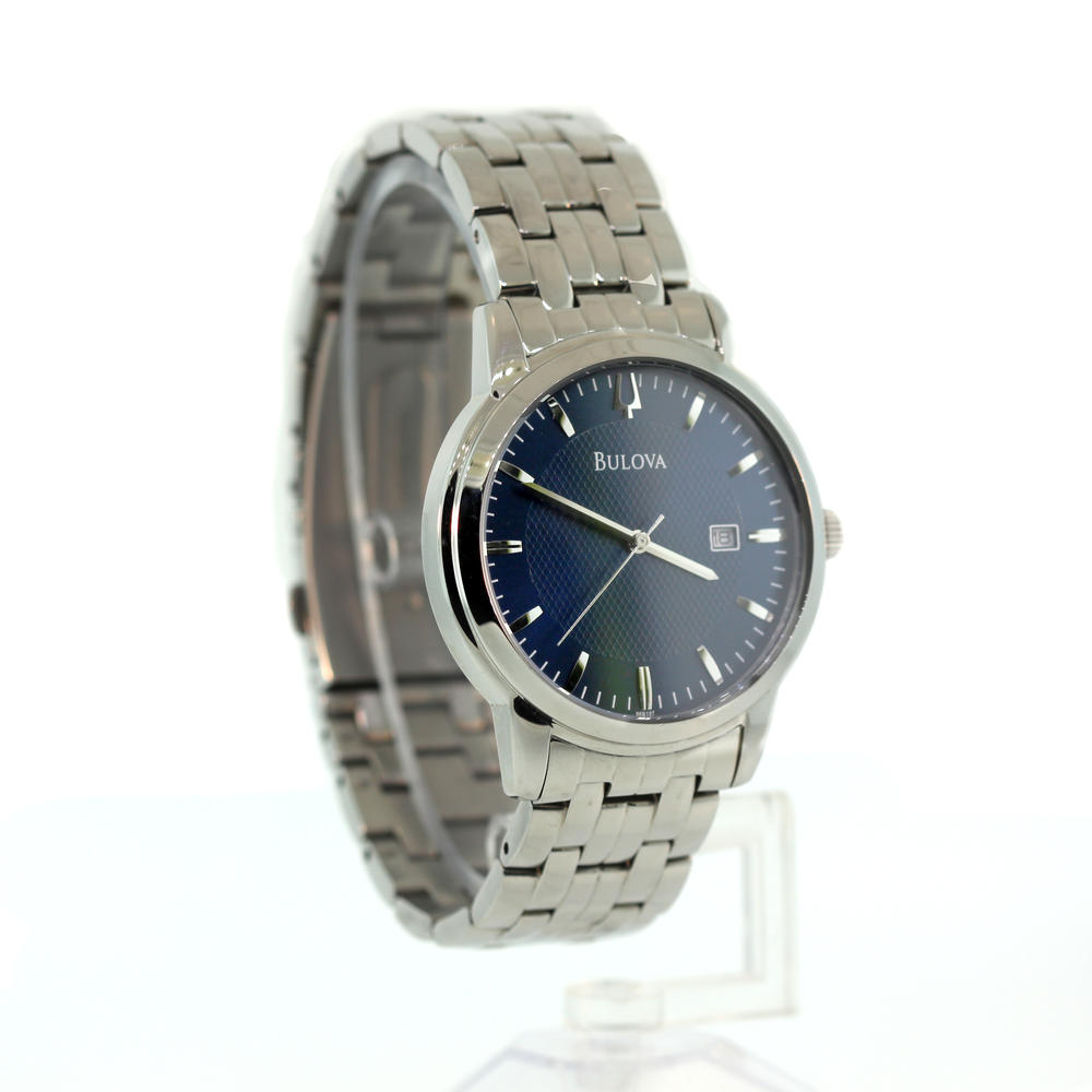 Handsome men 39 s bulova blue face stainless steel quartz for Do pawn shops buy stainless steel jewelry