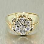 Handsome Men's Vintage 14K Yellow Gold Diamond 0.70CTW Kentucky Cluster Ring Jewelry