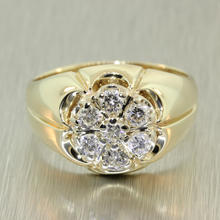 Handsome Men's Vintage 14K Yellow Gold Diamond 0.70CTW Kentucky Cluster Ring Jewelry