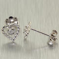 Lovely Ladies 14K White Gold Diamond 0.05CTW Heart Stud Earrings Jewelry