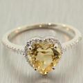 Lovely Ladies 18K White Gold Heart Citrine Diamond 1.95CTW Right Hand Ring Jewelry