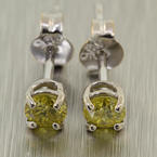 Stunning Ladies 14K White Gold Yellow Diamond 0.30CTW Stud Earrings Jewelry