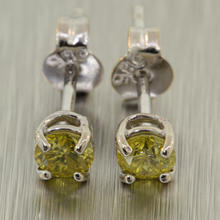 Stunning Ladies 14K White Gold Yellow Diamond 0.30CTW Stud Earrings Jewelry