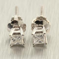 Classic Ladies 14K White Gold Princess Cut Diamond 0.32CTW Stud Earrings Jewelry