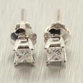 Classic Ladies 14K White Gold Princess Cut Diamond 0.32CTW Stud Earrings Jewelry