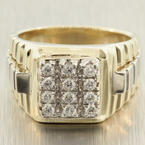 Handsome Men's Vintage 14K Yellow Gold Diamond Rolex Style Ring Jewelry