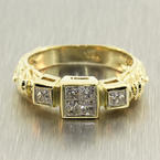 Exquisite Ladies Vintage 18K Yellow Gold Diamond 0.70CTW Ornate Engagement Ring Jewelry