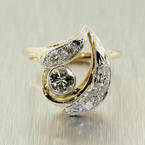 Stunning Ladies Vintage 14K Yellow Gold Diamond 0.60CTW Right Hand Ring Jewelry