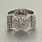 Fine Antique Estate 14K White Gold Diamond 0.40CTW Butter Cup Right Hand Cocktail Ring