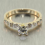 Scintillating Ladies 14K Yellow Gold Solitaire Diamond 0.75CTW Engagement Ring Jewelry