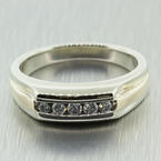 Handsome Men's Estate 14K White Gold Diamond 0.35CTW Ring Band Jewelry