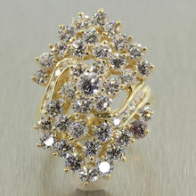 Scintillating Ladies Estate 14K Yellow Gold Zirconia 3.70CTW Cluster Cocktail Ring Jewelry