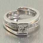 Exquisite Ladies Modern 18K White Gold Diamond 1.25CTW Wedding Ring Jewelry Set
