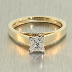 Spectacular Ladies 14K White Gold Princess Cut Diamond 0.71CTW Engagement Solitaire Ring