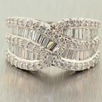 Fine Ladies 18K White Gold Baguette & Round VS Diamond 2.00CTW Right Hand Ring Jewelry
