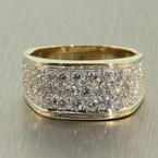 Charming Ladies Estate 14K Yellow Gold Diamond 1.35CTW Right Hand Ring Jewelry