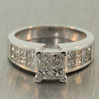 Exquisite Ladies Estate 18K White Gold Princess Cut Diamond 2.25CTW Engagement Ring Jewelry