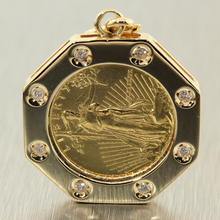 American Eagle Bullion Coin 1989 1/10 OZ Fine Gold $5 14K Yellow Gold Diamond Bezel Pendant