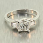 NEW Modern Ladies Platinum Princess Cut Natural Diamond 0.85CTW Engagement Ring Jewelry