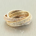 Charming Ladies Tricolor 14K Infinity Trio Rolling Diamond 3.00CTW Pave Ring Jewelry