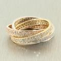 Charming Ladies Tricolor 14K Infinity Trio Rolling Diamond 3.00CTW Pave Ring Jewelry