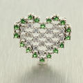 Lovely Ladies 14K White Gold Diamond and  Peridot 0.75CTW Heart Pendant Jewelry