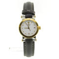 Movado Vizio 3374887 Ladies White Dial Gold Tone  Bezel Leather Band Quartz Watch