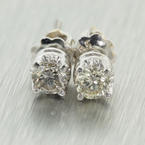 Classic Ladies 14K White Gold Diamond 0.30CTW Screw Back Stud Earrings Jewelry