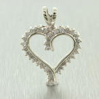NEW Modern 10K White Gold Natural Diamond 0.25CTW Heart Pendant