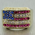 Patriotic Men's 14K Yellow Gold Spinel,Ruby,Cubic Zirconia 2.65CTW Ring