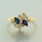 Vintage Estate 14K Yellow Gold Blue Spinel and VS Diamonds 0.80CTW Right Hand Cocktail Ring