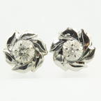 Classic Ladies 14k White Gold Diamond Stud Earrings Jewelry