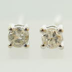 NEW Classic Modern 14K White Gold Diamond Stud Push Back Earrings